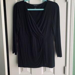 WHBM Black Faux Wrap Knit top -size M